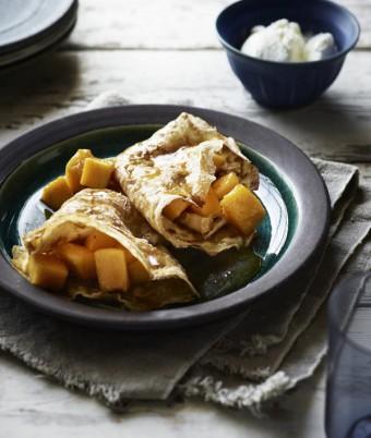 Armagnac and Mango Crepes