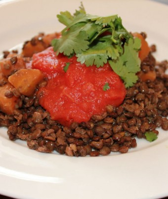 Lentil salad with tomato puree and coriander
