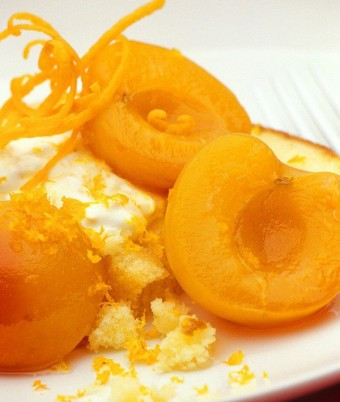 Syrup Apricots with Toasted Madeira and Orange Cream