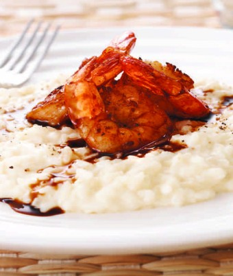 Parmesan Risotto with Garlic Butter Prawns