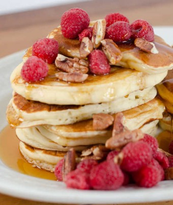 Buttermilk Pancakes with Raspberry & Pecan Salad