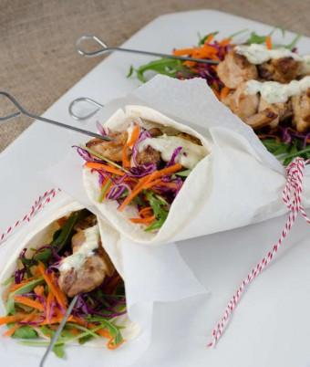 Chicken Skewer and Salad Wrap