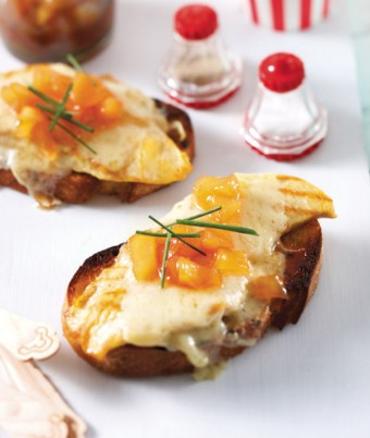 Cornfed Chicken Breast Pear Chutney and Gruyere Cheese Open Sandwich on Sourdough Bread
