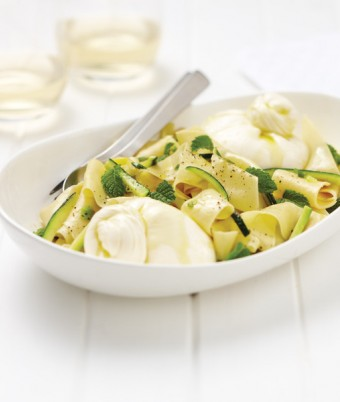 Burrata, Zucchini and Mint Pappardelle