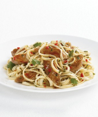 Quail Breast Fillets with Pasta, Chilli, Fresh Herbs and Olive Oil