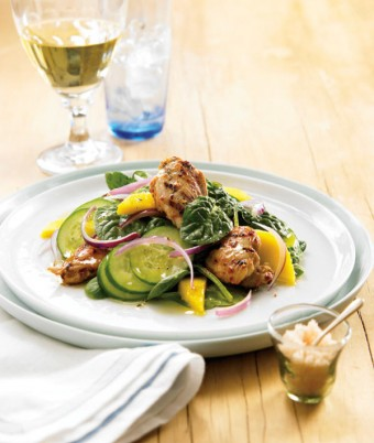 Barbecued Portuguese Quail with Baby Spinach and Mango Salad