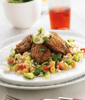 Middle Eastern Quail and Couscous Salad with Garlic Sauce