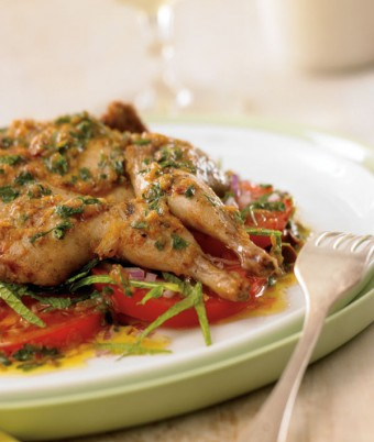 Moroccan Quail with Minted Tomato and Olive Salad