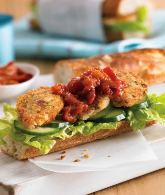 Crispy Crumbed Quail Baguette with Roasted Tomato Chilli Jam