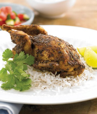 Indian Spiced Quail with Herb Yoghurt Sauce