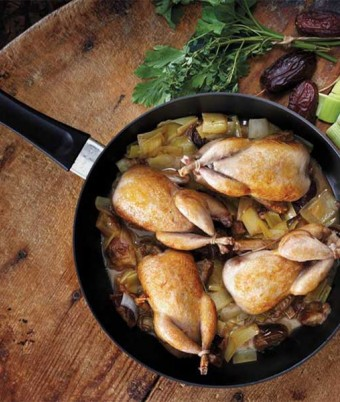 Quail Braised with Leeks and Dates