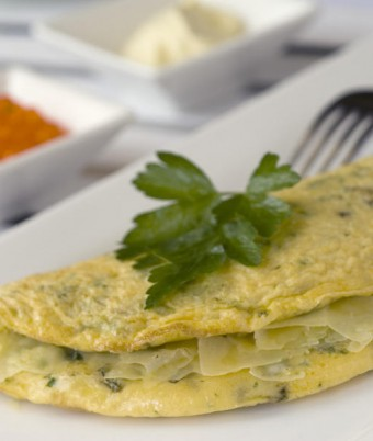Herb omelette with yoghurt and salmon roe