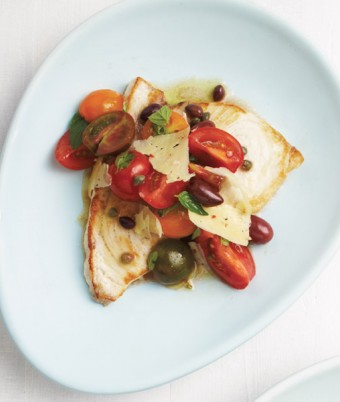 Swordfish with Sicilian Tomato, Olive and Chilli Pecorino Salad