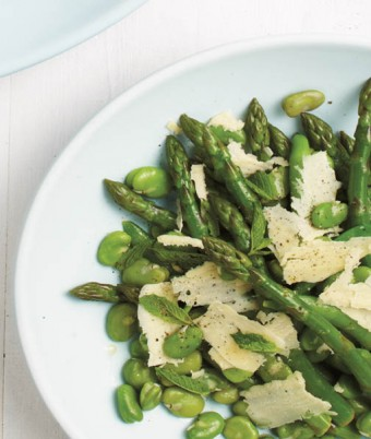 Broad Beans, Asparagus with Mint and Pecorino