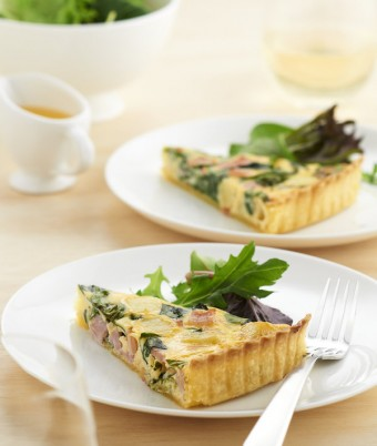 Spinach Bacon and Potato Quiche