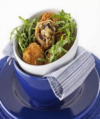 Golden Breaded Mushroom Medley Risotto Balls