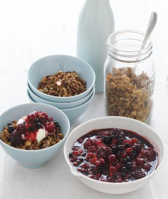 Mixed Berry Compote with Maple Syrup Granola