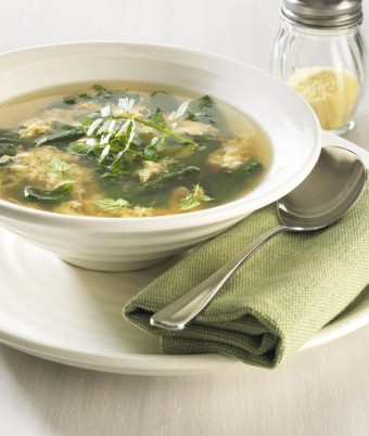 Stracciatella Soup with Baby Spinach