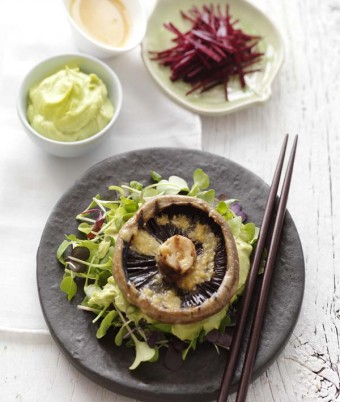 Barbecued Flat Mushrooms with Miso and Wasabi-Avocado Mayonnaise