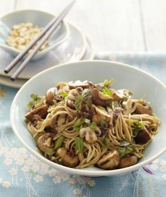BBQ Swiss Brown Mushrooms Soba Noodle Salad