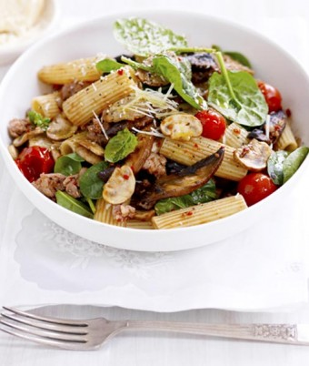 Mushrooms, Sausage & Spinach Rigatoni