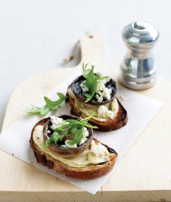Mushrooms on Walnut Crostini