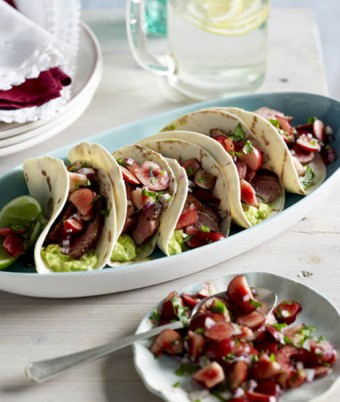 Duck Tacos with Cherry Salsa