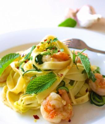 Summer Fresh Prawn, Zucchini & Mint Pasta