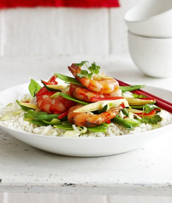 Stir Fried Ginger Prawns with Asparagus and Snow Peas