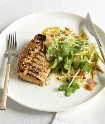 Teriyaki roast kingfish with cucumber and enoki Japanese salad