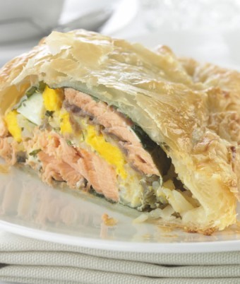 Salmon, egg and rice pie