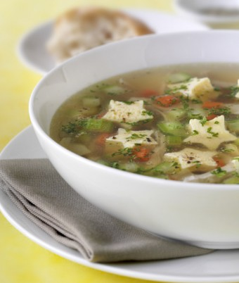 Chicken and vegetable soup with herb egg custard