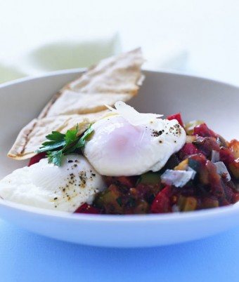 Poached egg on a Sicilian Caponata