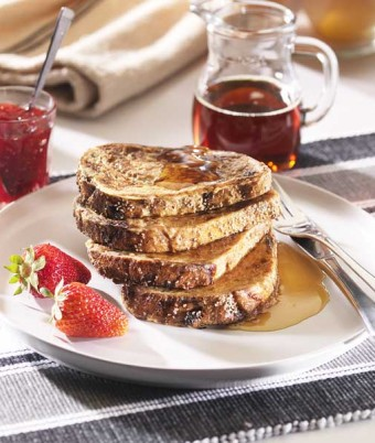 French Toast with Jam and Maple Syrup