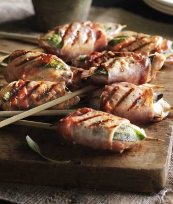 BBQ Quail Skewers Wrapped in Pancetta with Sage