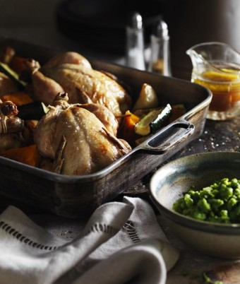 Classic Roast Spatchcock with Stuffing, Roast Autumn Vegetables, Minted Pea Mash and Gravy