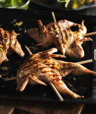 Green Ginger Wine Marinated Quail Skewers