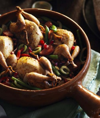 Whole Spanish Quail with Chorizo and Green Bean Salad