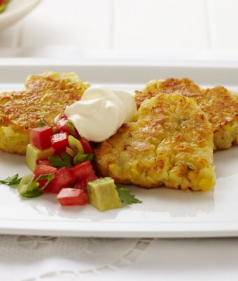 Love Heart Corn and Cheddar Fritters with Tomato Salsa with Sour Cream