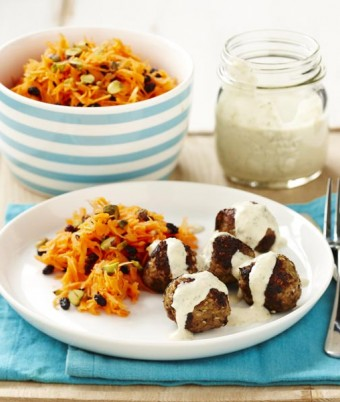 Middle Eastern Lamb Meatballs with Chickpea Yogurt and Carrot Salad
