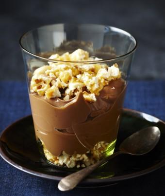 Chocolate Pots with Crushed Caramel Peanut Popcorn