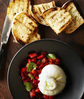 Burrata with Strawberry and Basil Salsa