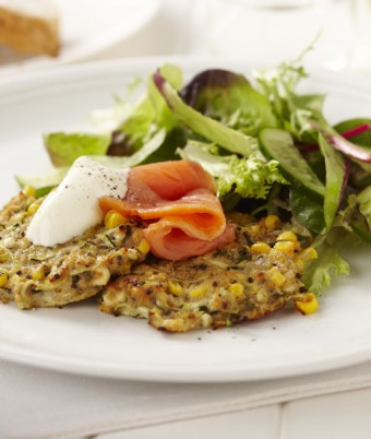 Zucchini, Corn and Mint Fritters with Smoked Salmon
