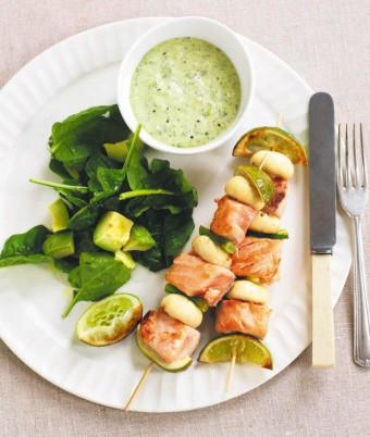 Salmon & Mushroom Kebabs