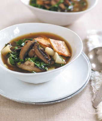 Mushroom, Tofu & Spinach Noodle Soup