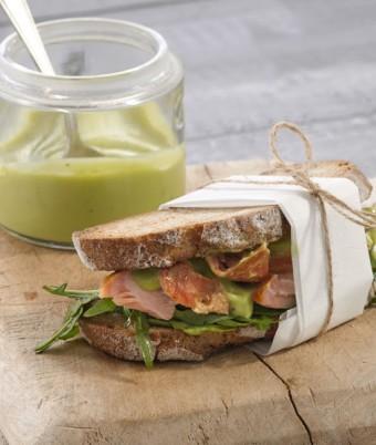 Salmon Rocket Wasabi Avo Sandwich