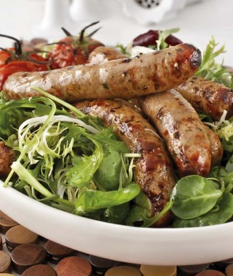 Pork, fresh herb and prune sausages