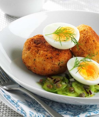 Smoked Trout Patties with Soft Boiled Egg and Cucumber, Dill and Caper Salad