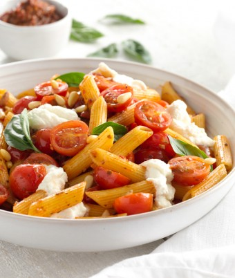 Penne with Ricotta & Summer Tomato Pesto