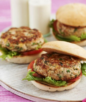 Chicken, basil and pinenut burgers
